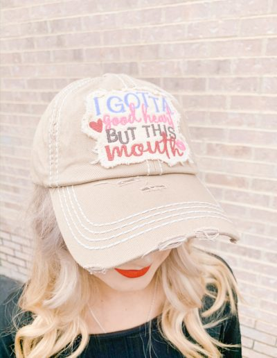 """I Gotta Good Heart, But This Mouth"" Hat (Beige)"