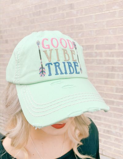 """Good Vibes Tribe"" Hat (Turquoise)"